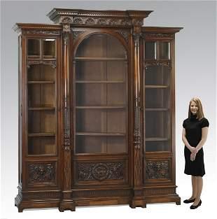 Monumental mid 19th c. French walnut bookcase