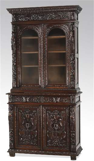 19th c. French carved walnut bibliotheque