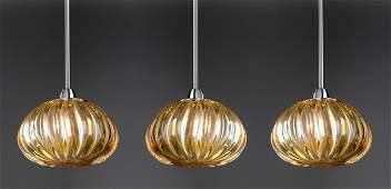 3 Murano glass Diamante pendants by Vistosi