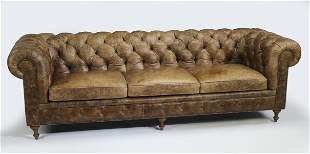 "Arhaus leather Chesterfield sofa, 106""l"