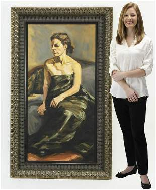 20th c. signed American O/c portrait of a seated lady