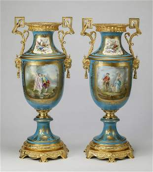 (2) Monumental 19th c. Sevres urns, maker marked