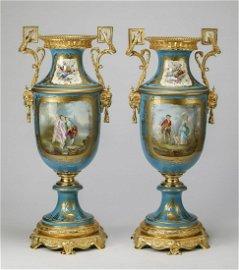(2) Monumental 19th c. Sevres urns, maker marked