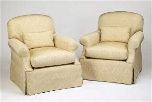 (2) Hickory Furniture custom upholstered armchairs