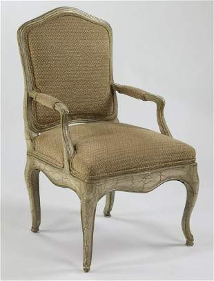 Gustavian style paint decorated fauteuil