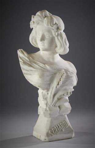 Late 19th c Italian carved marble bust of young woman
