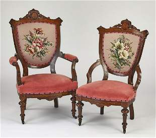 Victorian mahogany petit point his and hers chairs