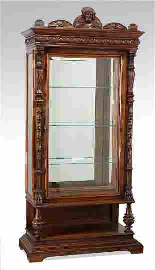 "19th c. French carved walnut vitrine, 85""h"