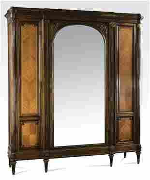 """Continental parquetry inlaid 3-door armoire, 86""""h"""