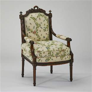 Early 20th c. French fauteuil w/ whimsical upholstery
