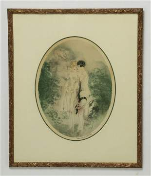 Louis Icart signed 'Ecoute (Listen)' etching, framed