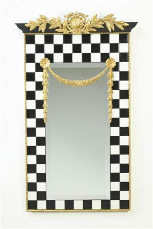 """Carver's Guild checkered swag mirror, 42""""h"""