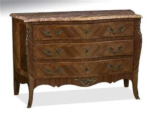 Early 20th c. French marble top serpentine commode