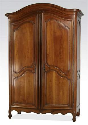 """18th c. French Provincial walnut armoire, 108""""h"""