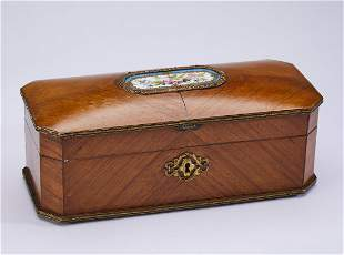 19th c. French bookmatched kingwood and porcelain box