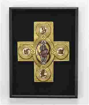 Giltwood cross with Christ Pantocrator & Evangelists