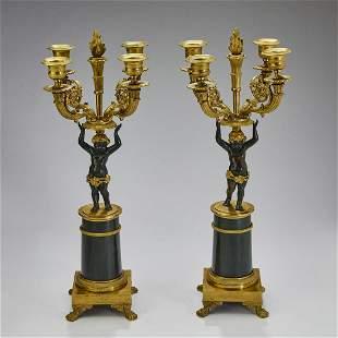 (2) French Empire style gilt bronze candelabra