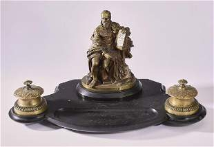 19th c. Susse Freres bronze and marble inkstand