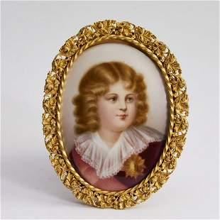 French miniature portrait on porcelain 'Roi du Rome'
