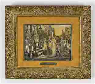 Continental gouache on paper wedding scene, signed