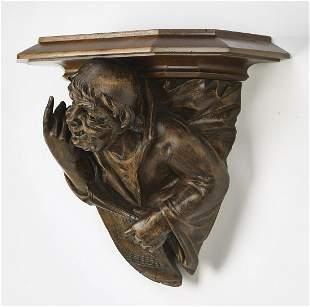 19th c. Continental carved walnut figural bracket