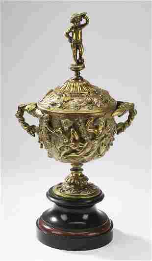 Neoclassical style gilt bronze covered urn