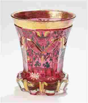 Attrib to Moser, enameled cranberry glass spooner