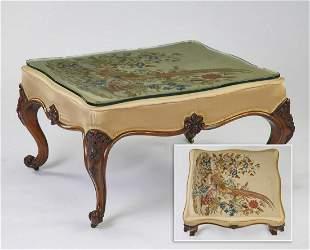 "Custom Louis XV style needlepoint ottoman, 35""w"