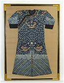 """Chinese embroidered silk dragon festival robe, 69""""h"""