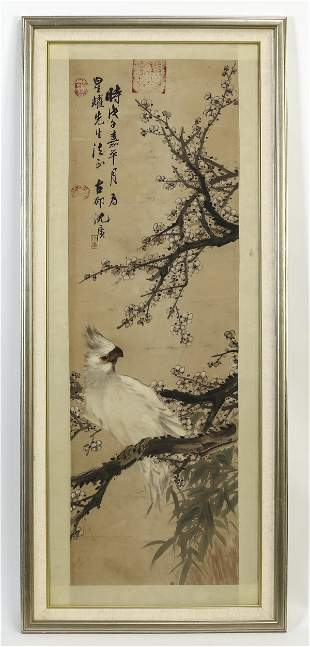 Chinese hand painted scroll of a cockatoo and prunus