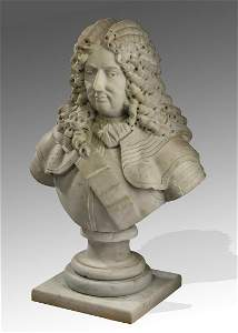 19th c. French carved marble bust of a nobleman