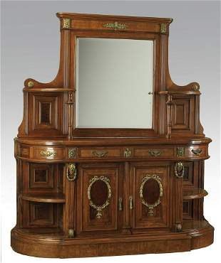 19th c. French Empire style buffet with inset mirror