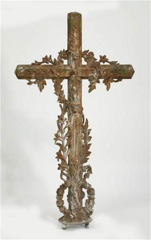"19th c. French cast iron crucifix, 52""h"