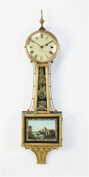 """Early 20th c. gilt and eglomise banjo clock, 39""""h"""
