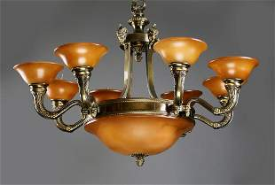 Empire style 8-light faux alabaster chandelier