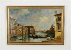 Italian School O/b Venetian canal scene