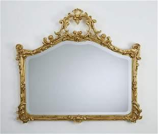 Giltwood Rococo style beveled mirror