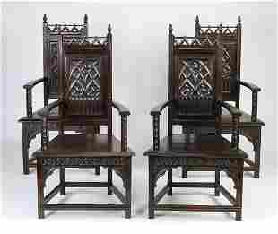 (4) 19th c French Gothic Revival carved oak armchairs