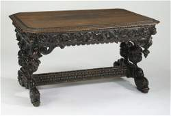 Mid 19th c. French carved oak table