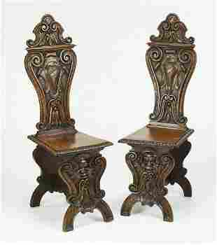 (2) 19th c. carved walnut Sgabello side chairs