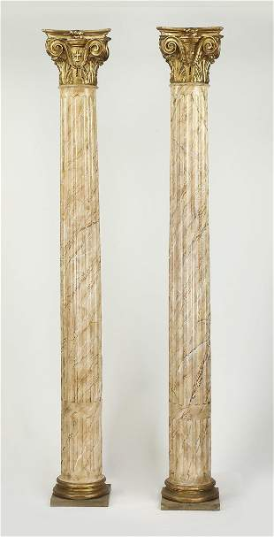 (2) Fiberglass columns with faux marble finish