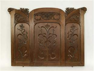 Early 20th c. Art Nouveau walnut architectural panel