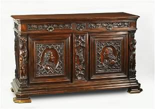 Italian Renaissance Revival walnut sideboard