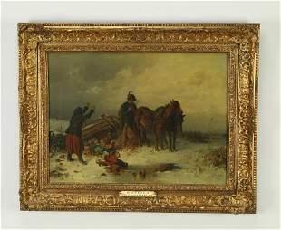 A. van der Venne signed O/c, titled 'Wrecked' ca 1879
