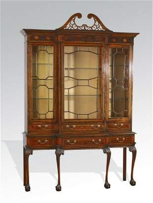 English Chinese Chippendale style mahogany vitrine