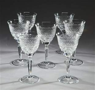 (7) Continental cut crystal wine glasses