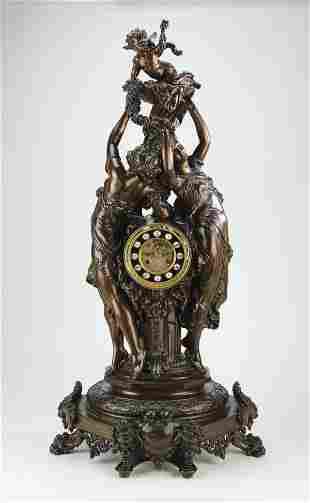 "19th c. French bronze figural mantel clock, 40""h"