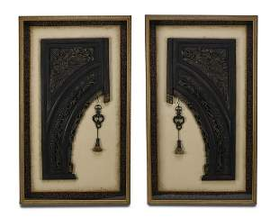 """(2) Chinoiserie inspired architectural brackets, 53""""h"""