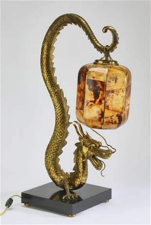 Maitland-Smith Chinese style dragon table lamp