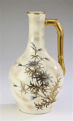 19th c. Royal Worcester cream ground porcelain ewer